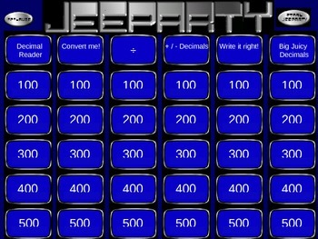 Decimals Review Jeopardy Game PowerPoint