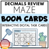 Decimals Review Maze Summer Themed Boom Cards Distance Learning