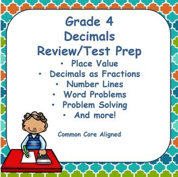 Fourth Grade Decimals Review and Test Prep