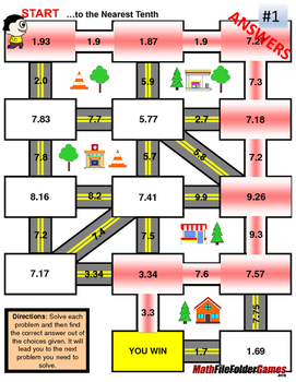 Decimals - Rounding Decimals (Fun Mazes/Worksheets)