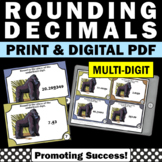 Rounding Decimals Games and Activities with Multi-Digit Decimals Task Cards