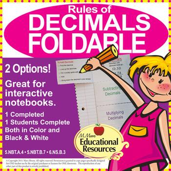 Decimals - Rules of Decimals FOLDABLE - 5th Grade Math & 6th Grade Math