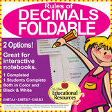 Decimals - Rules of Decimals FOLDABLE - 5th Grade Math & 6th Grade Math