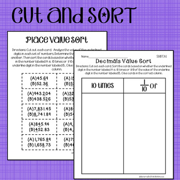 Decimals Sort and Solve {10x and 1/10 - 5.NBT.A.1 - Math Sorts}