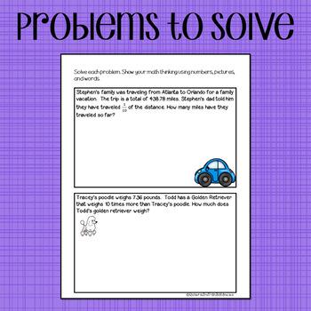 Decimals Sort and Solve {10x and 1/10 - 5.NBT.A.1 - Math Sorts}