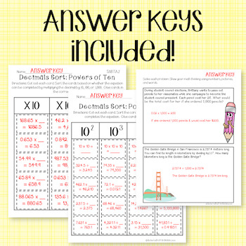 Decimals Sort and Solve {5.NBT.A.2 - Powers of Ten Sorts}