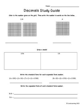 Decimals Study Guides {5th Grade Common Core Aligned}