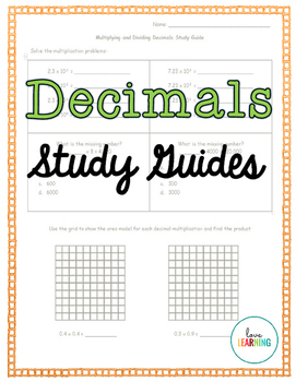 Decimals Study Guides {5th Grade Common Core Aligned}