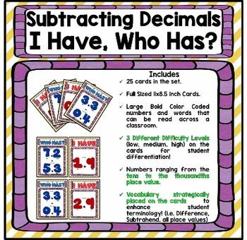 Decimals: Subtracting Decimals Game: I Have Who Has?