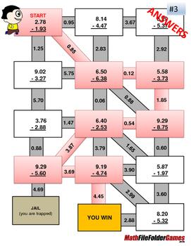 Decimals Subtraction Mazes/Worksheets