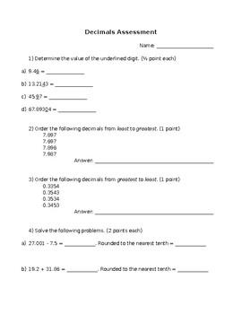 Decimals Summative Assessment