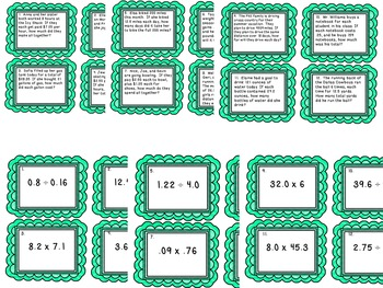 Decimals Task Card Bundle: Adding, Subtracting, Multiplying, and Dividing