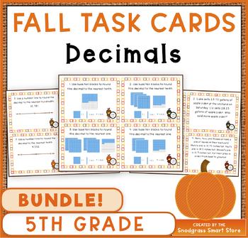 Decimals Task Cards BUNDLE: Fall Theme