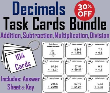 Adding Subtracting Decimals Task Cards/ Multiplying Dividing Decimals Task Cards