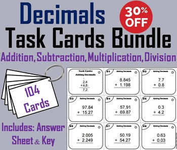 Operations with Decimals Task Cards: Adding, Subtracting, Multiplying, Dividing
