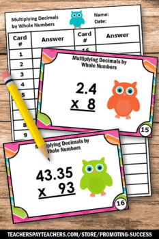 Multiplying Decimals and Whole Numbers Task Cards 5th Grade Math Review Games