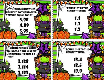Decimals Task Cards (Rounding) Halloween