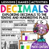 Decimals: Tenths & Hundredths Math Test Prep Task Cards