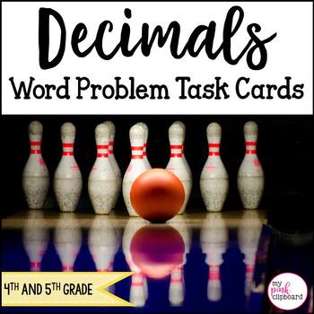 Decimals Word Problem Task Cards - Common Core - Grades 4 & 5