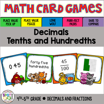 Decimals Tenths And Hundredths Math Card Games By Spot On