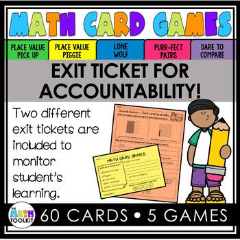 Decimals: Tenths and Hundredths Math Card Games
