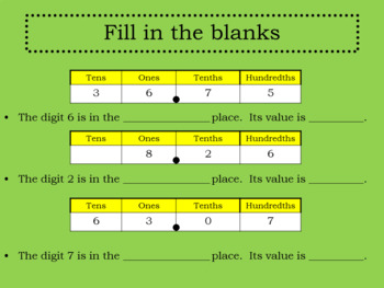 Decimals-Tenths and Hundredths Review PowerPoint