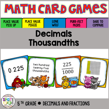 Decimals: Thousandths Math Card Games