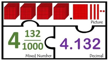 Decimals Thousandths with Base Ten blocks Match Math centers Work station