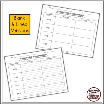Decimals To Thousandths Practice Worksheets - Standard, Word, Expanded Forms