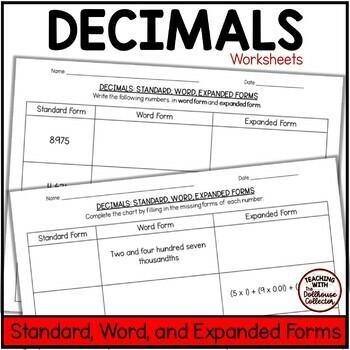 expanded form thousands worksheets  Decimals To Thousandths Practice Worksheets - Standard, Word ...