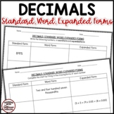 Decimals To Thousandths Practice Worksheets - Standard, Wo