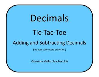 Decimals Tic-Tac-Toe - Adding and Subtracting Decimals