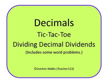 Decimals Tic-Tac-Toe - Dividing Decimal Dividends