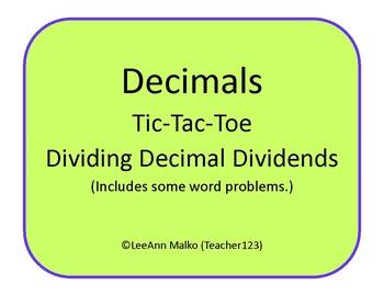 Decimals Tic-Tac-Toe - Dividing Decimal Dividends