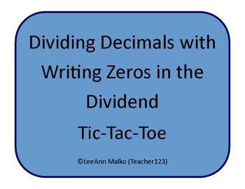 Decimals Tic-Tac-Toe - Dividing Decimals with Writing Zero