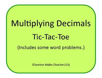 Decimals Tic-Tac-Toe - Multiplying Decimals