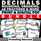Decimals Place Value Task Cards BUNDLE 4th 5th Grade Math Review