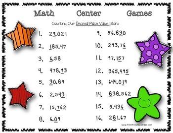 Decimal Math Center Game