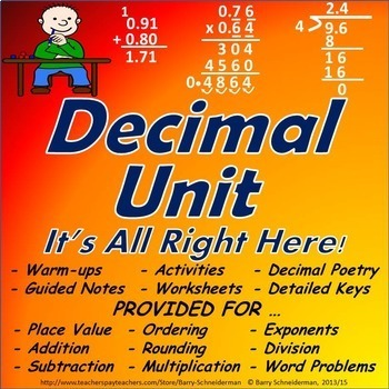 Adding, Subtracting, Multiplying, Dividing Decimals Unit with Word Problems