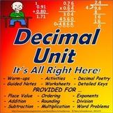 Adding, Subtracting, Multiplying, Dividing Decimals Unit w
