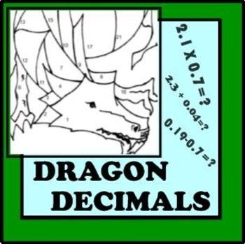Decimals Unit Review: Computation Skills (Dragon Coloring