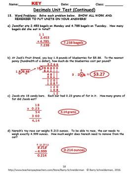 Decimal Unit Review / Pre-Test and Decimal Unit Test