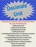 Decimals Unit (Worksheet Bundle)