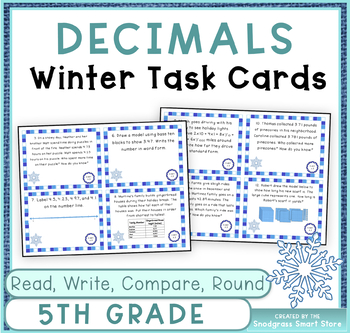 Decimals Word Problems: Winter Theme (Reading, Writing, Comparing, & Rounding)