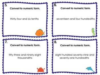 Decimals {Word Form to Numeric Form} Task Cards by I Heart ESOL | TpT