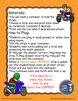 Decimals Word Form to Standard Form Don't Get ZAPPED Math Game