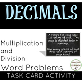Decimal Activity Word Problems with Multiplication and Division Task Cards