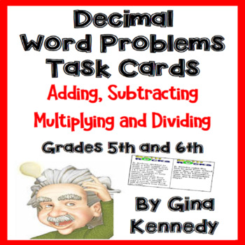 Decimals Word Problems, Problem Solving Task Cards For Upper Elementary