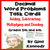 Decimals Word Problems, Problem Solving Task Cards For Upp
