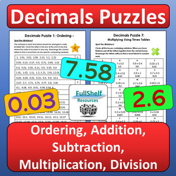 Decimals Review Worksheets Puzzles By Fullshelf Resources Tpt